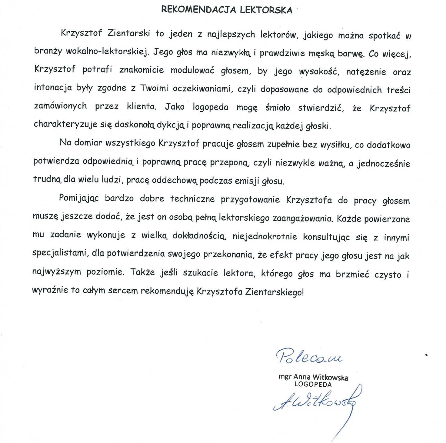 Rekomendacja Anna Witkowska222